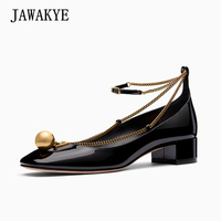 2018 New Style Genuine Leather Flat Shoes Women Gold metal ball Fine chain ankle strap ladies Single shoes Casual flats Black