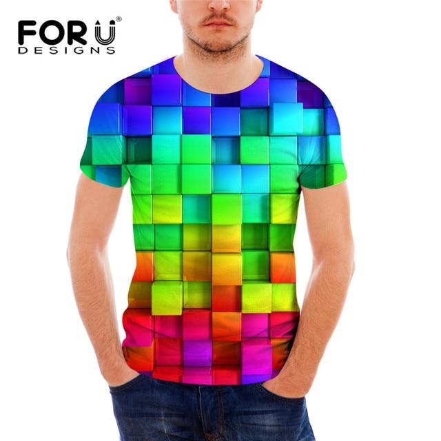 T Shirts Designer   Forudesigns Kuhle Bunte Geometrische Druck Mann T Shirt Designer