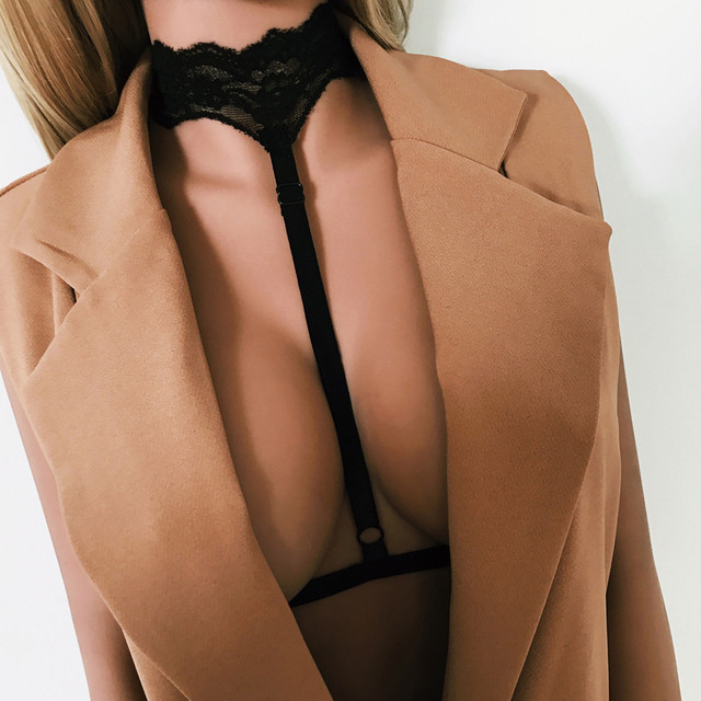 2017Sexy Harness Women Gothic Elastic Cage Crop Top Bra Erotic Lingerie Lace Halter Strappy Hollow Bra Bustier Bandage Body Belt
