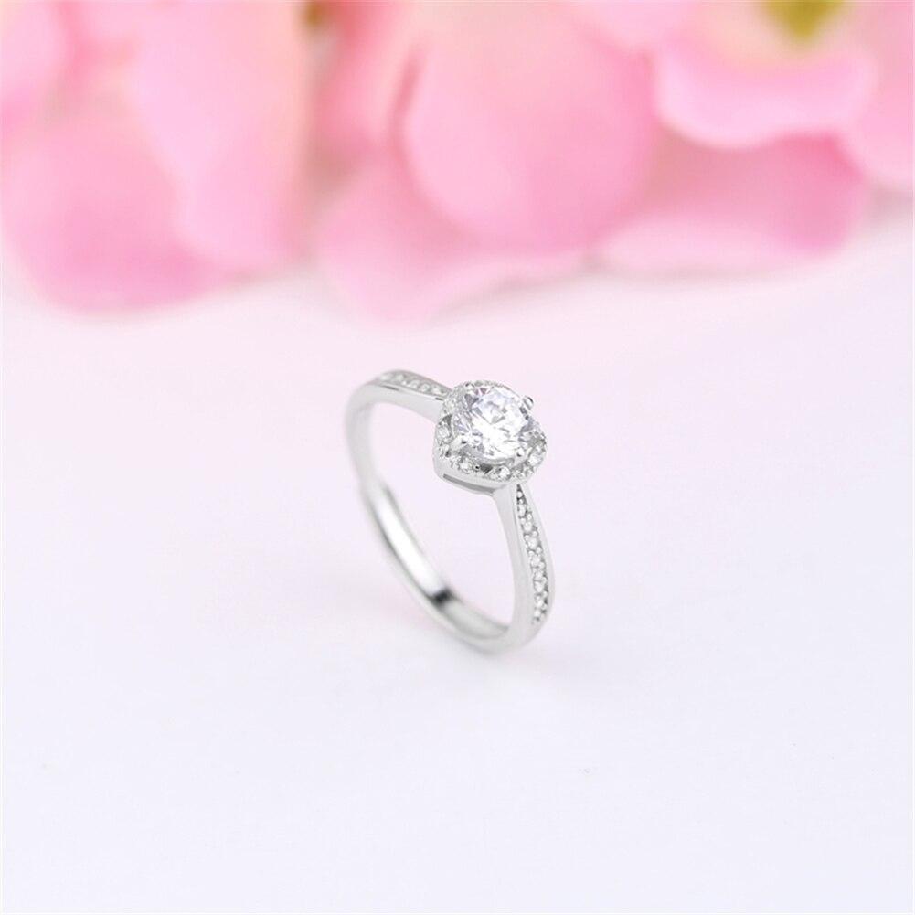 GoodTime Pure 925 Silver Ring CZ Zirconia Heart Wedding Rings Women ...