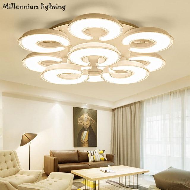 Moderne decke lampe led wohnzimmer esszimmer einfache acryl schlafzimmer  dimmbare innen beleuchtung AC110 220V weiß