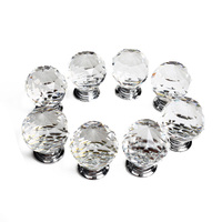 WSFS Hot 16 X 30mm Diamond Crystal Glass Door Knob Knobs Handle Drawer Kitchen Screws