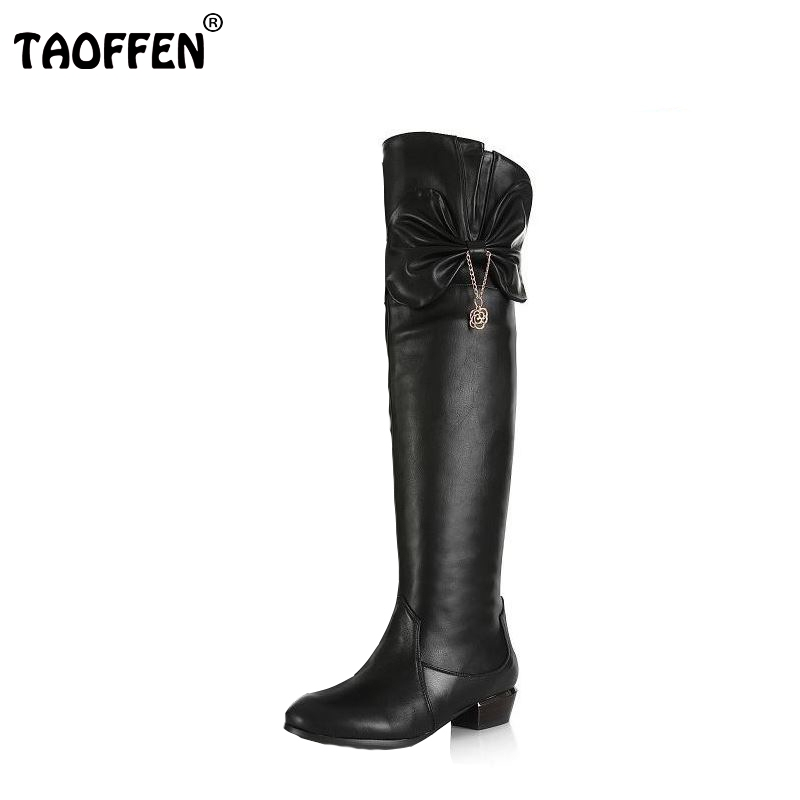 TAOFFEN size 30-45 women real genuine leather flat over knee boots long boot warm winter botas mujer footwear heels shoes R7761