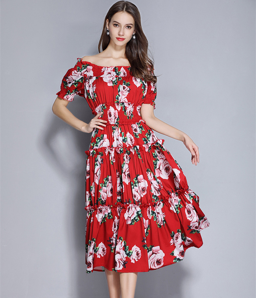 Red Roosarosee Womens Summer Vintage Floral Print Sexy Party Dress Elegant Beach Holiday Tank Black Ball Gown Dresses Vestidos Dresses