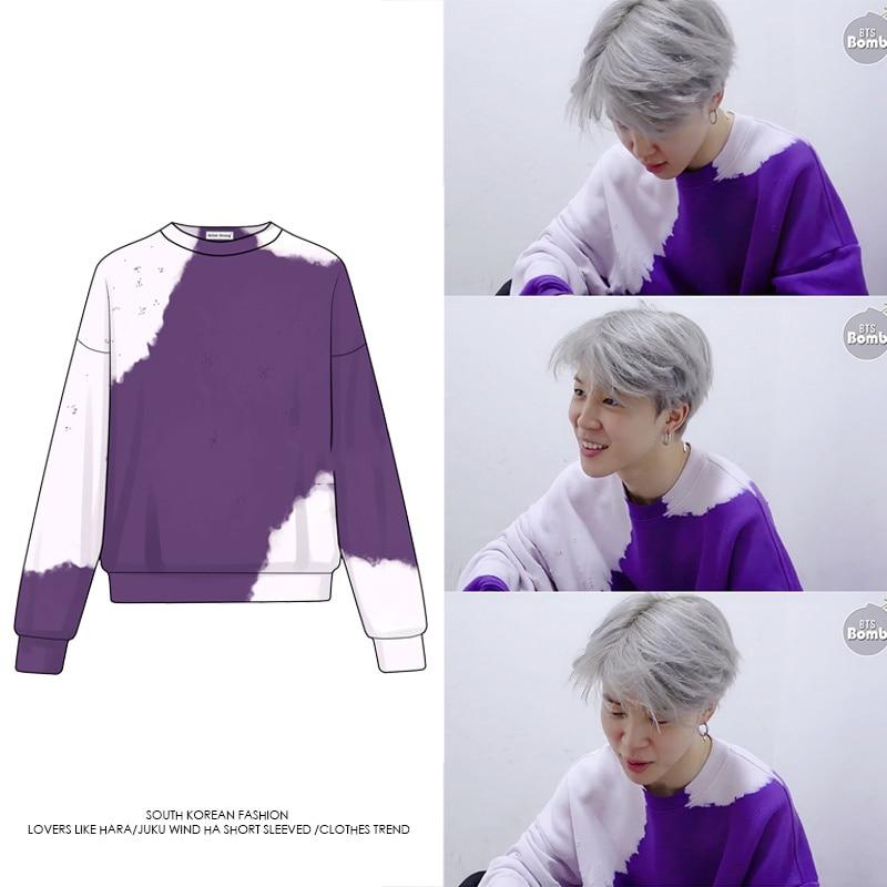 Kpop Bangtan Boys Hoodies New Jimin Same Style Purple Sweatshirt Spring Fashion Korean Coat Harajuku K-pop Streetwear