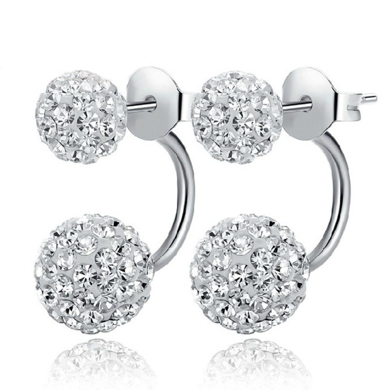 2017 Silver Filled Double Sided Earrings For Women Crystal Disco Ball Shamballa Stud Korean