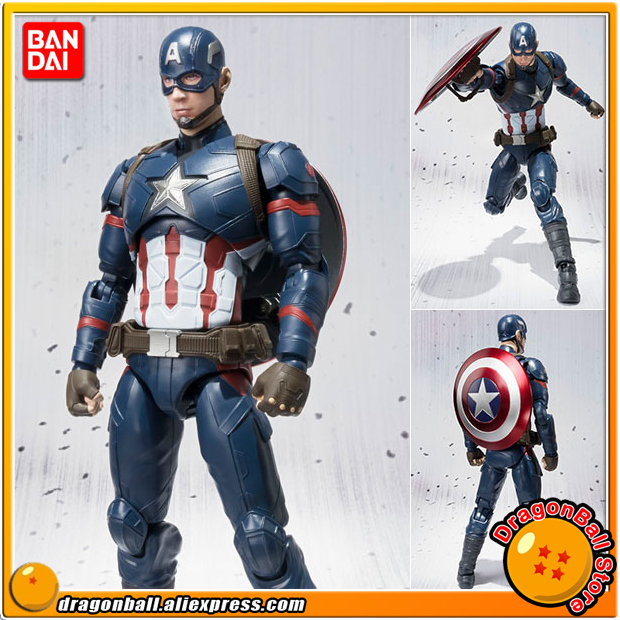 Captain America: Civil War Original BANDAI Tamashii Nations SHF/ S.H.Figuarts Toy Action Figure - Captain America captain america civil war bobble head pvc action figure collectible model toy doll 10cm