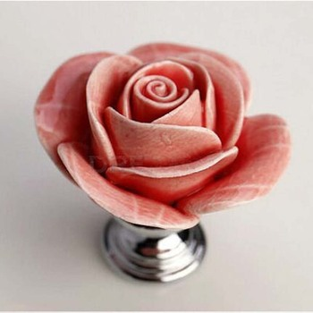 Fashionn pastorale Rose ceramic Dresser pull silver Drawer Knob Pull Creative Cabinet Knobs chrome furniture Hardware handle
