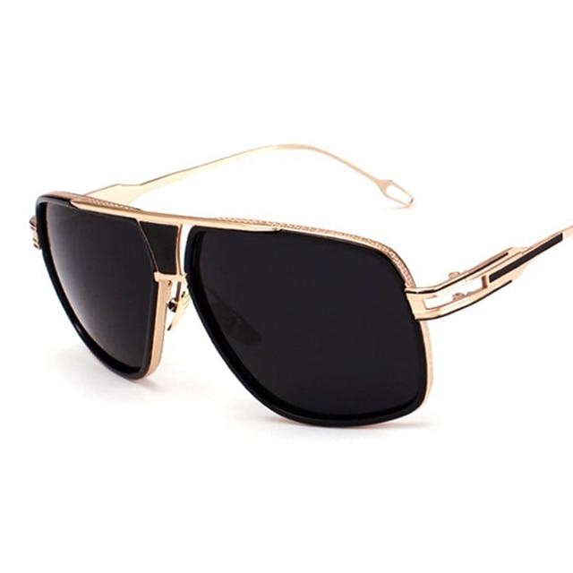 7eae2a421dd06 Mulheres Flat Top Óculos de Sol Espelho Quadrado 18 K Ouro Masculino de  Alta Qualidade Cinco