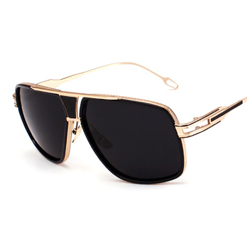 Women Flat Top Sun Glasses Square 18 K Gold Male Mirror High Quality Five Style Female