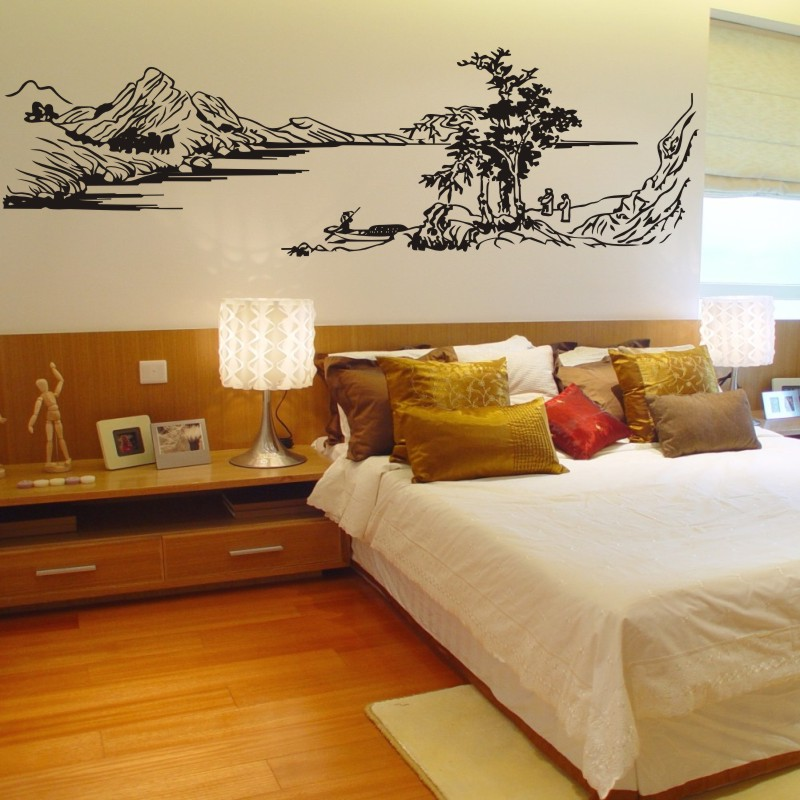 free shipping Chinese style painting mountain river tree wall stickers glass decals coving home decor decoration