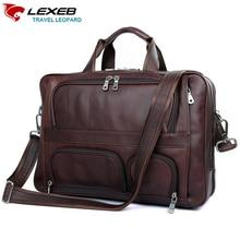 LEXEB márkájú bőrbőr férfi bőr aktatáskák férfiak üzleti táska 17,3 hüvelyk laptop nagy kapacitású magas minőségű utazótáskák 44 CM