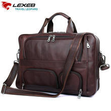 LEXEB 브랜드 갈색 가죽 남자 서류 가방 남자 비즈니스 가방 17.3 인치 노트북 대용량 고품질 여행 가방 44 CM