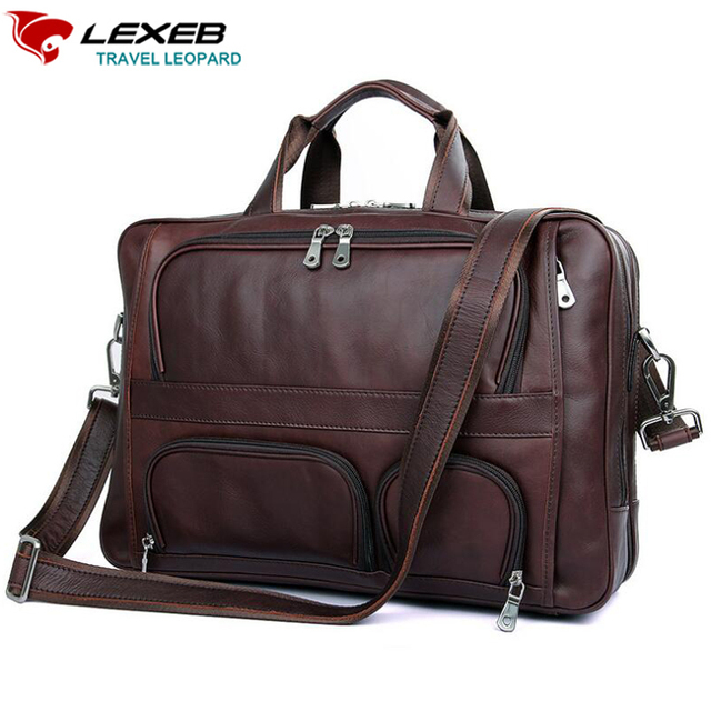 Lexeb Leather Laptop Bag Lawyer Briefcases Solid Fits 17 3 Inches Vintage Business Travel Bags