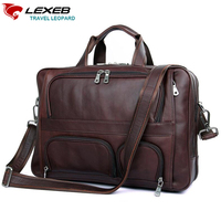 LEXEB Brand Brown Leather Men S Briefcases Men Business Bag For 17 3 Inch Laptop Large