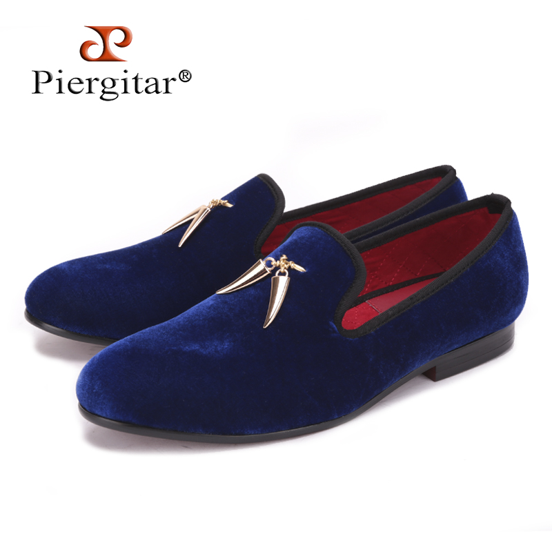 Shoes Men Party-Loafers Flats-Size Velvet Gold New Metal And US 4-17 Signature Shark-Tooth