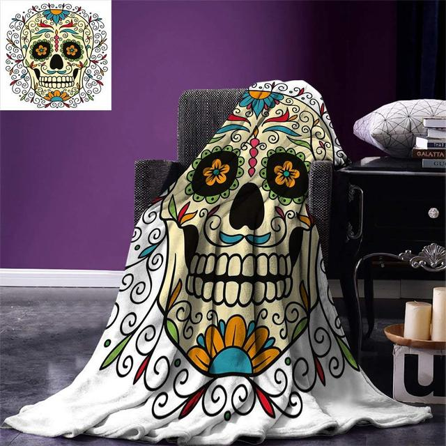Sugar Skull Decor Throw Catrina Calavera Featured Figure Ornaments Macabre Remember the Dead Warm Microfiber Blanket