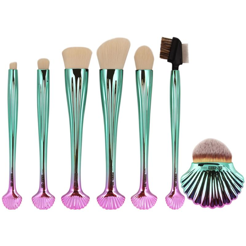 7pcs Shell Makeup Brushes Set Foundation Tool Kits Blusher Face Power Brushes Set Blush Power Contour Eye Shadow Kit