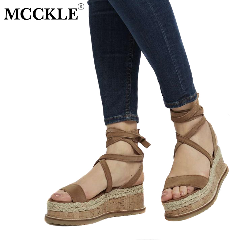 MCCKLE Women Summer Ankle Strap Straw Platform Wedge Sandals Female Fashion Cross Tied Party Dress Shoes Zapatillas Mujer phyanic platform gladiator sandals 2017 new casual wedge shoes woman summer women ankle boots side zipper party shoes phy5036