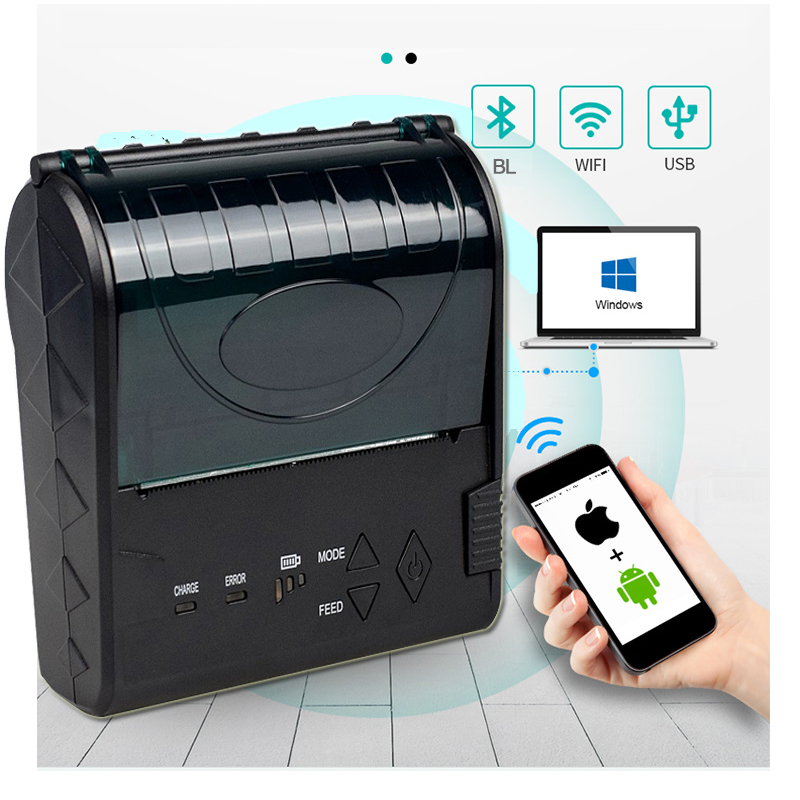 Barcode Portable Bluetooth Thermal POS Printer With 2000Amh Battery 90mm/s  USB Wireless Mobile Printer For 80MM Thermal Paper