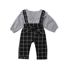 Toddler Kids Baby Girls Plaids Outfit Clothes Little Girls T-shirt Tops+Bib Pants Overalls 2PCS Clothing Set 2019 autumn winter costume for kids newborn baby girl clothes toddler shirt bib pants overalls 2pcs outfit kids girls clothing set