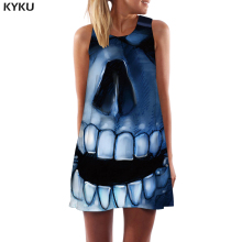 KYKU Brand Skull Dress Women Cartoon Sexy Art Beach Gothic Sundress Rock Korean Style Womens Clothing Summer New Large Sizes