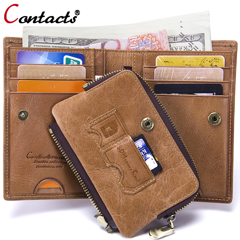 Contact's Male Wallet Card Holder Men Wallets Genuine Leather Men Clutch Zipper Coin Purse Famous Brand Money Bag Leather Purse