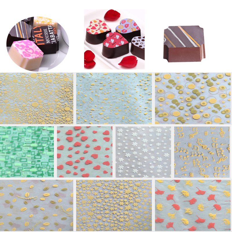 34 * 22CM 50PCS DIY Handmade food chocolate transfer sheets printed  for chocolate decoration Tools