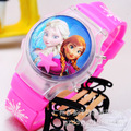 3D Cartoon Elsa Anna Children Digital Watch Girls Kids Boys Sports Watches Student Led Light Clamshell Clock Wristwatch