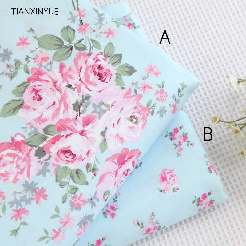 40*50cm escolher cor 100% tecido de algodão victoria azul rosas pano cama diy para costura retalhos almofada estofando tecidos