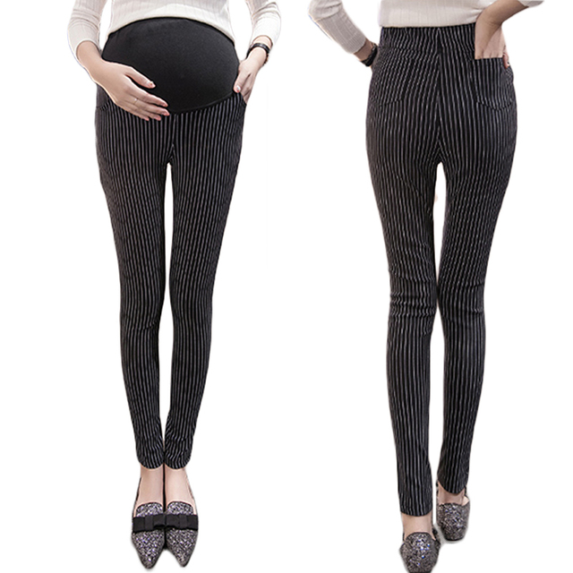 Pack make pregnant women pants fall han edition cultivate one's morality show thin stripes elastic pencil pants foot wear pants
