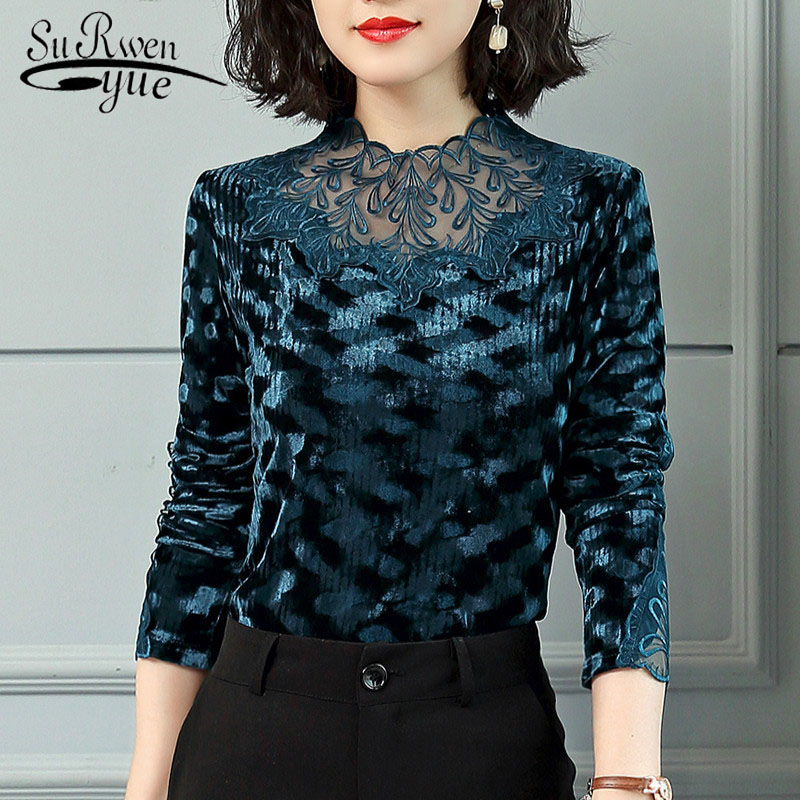 Fashion women shirts long sleeves vintage women's winter and autumn blouse patch