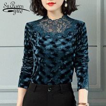 Fashion women shirts long sleeves vintage women's winter and autumn blouse patchwork lace women tops and blouses blusas 1569 50