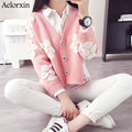 Aelorxin 2016 Autumn Winter  Women's Knit Thick Warm Cardigan Perspective Polka Dot Large Flower V-neck Pink Sweets Girl Weaters
