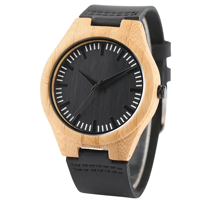 Fashion Bamboo Watch Men Genuine Leather Band Creative Watches Quartz Nature Wood Handmade Clock Novel Modern Simple Gift 2017