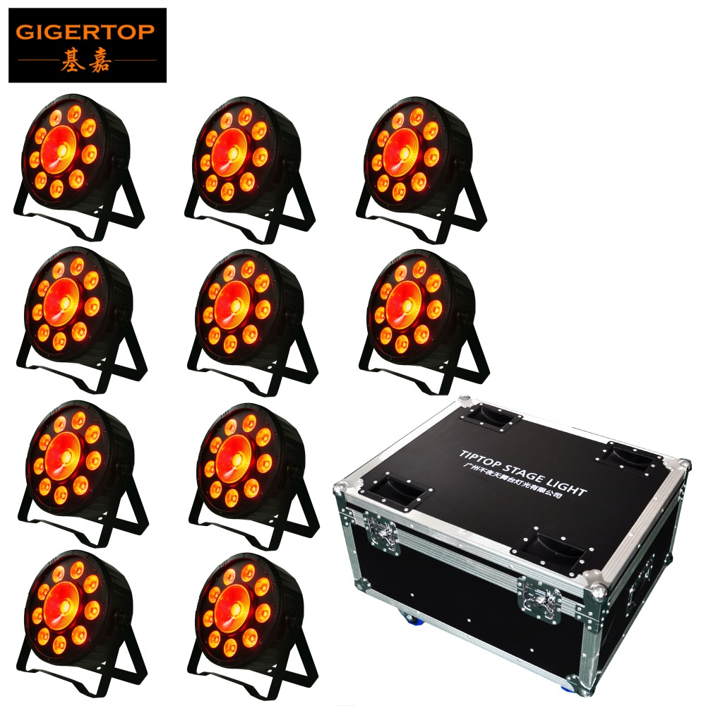 10IN1 Road Case Pack 9+1 2in1 Plastic Flat Led Par Light RGB 3IN1 Color 6 DMX Channels 3PIN DMX Socket 1 Year Warranty