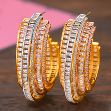 SISCATHY Brand Big Hoop Women Earrings Fashion Jewelry Luxury Silver/Rosegold/Gold Color Cubic Zirconia Statement