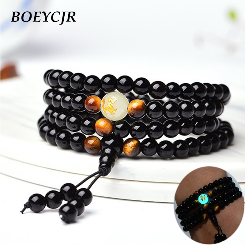 BOEYCJR Dragon Black Buddha Mala Beads Bangles&Bracelets Handmade Jewelry Ethnic Glow in the Dark Bracelet for Women or Men