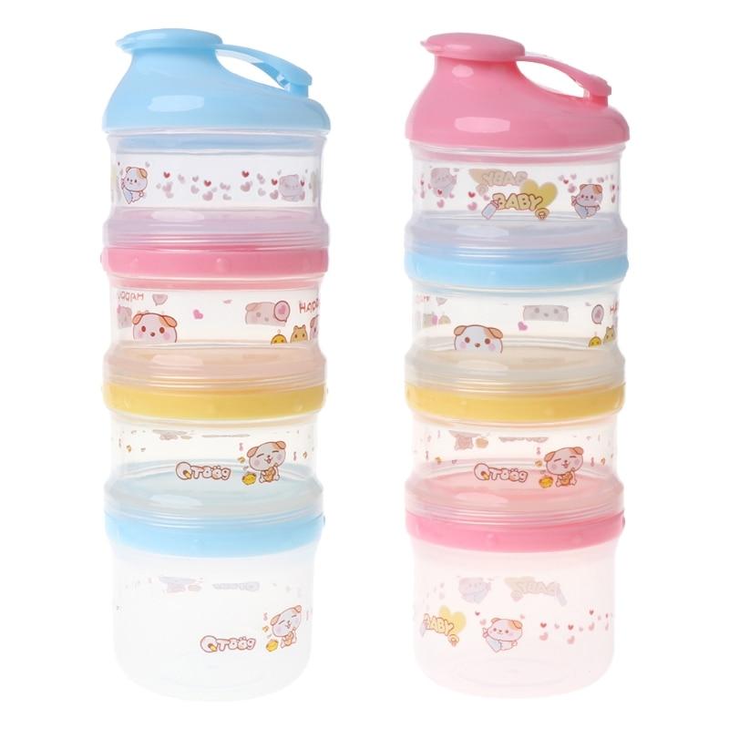 Formula Food Storage Cartoon 4 Layers Makeup Baby Milk Powder Container Portable