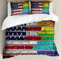Duvet Cover Set Grunge Dark Brick Wall with American and Rainbow Flag Painted Together, 4 Piece Bedding Set