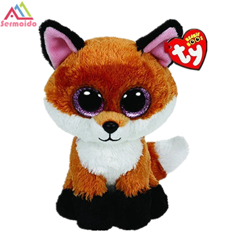 sermoido TY 6 Beanie Boos Slick Brown Fox Plush Beanie Baby Plush Stuffed Doll Toy Soft Toys Big Eyes Plush Toys DBP101
