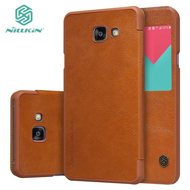 imágenes para Funda de cuero clásico para Samsung A5 2016 Original Nillkin Qin caso de la cubierta de cuero para el Nuevo samsung A5 A510F con envío regalo