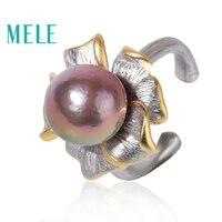 Натуральный пресноводный жемчуг открытым кольца для мм для женщин, 11 мм круглый форма лаванды цвет с стерлингового серебра 925, мода цветок