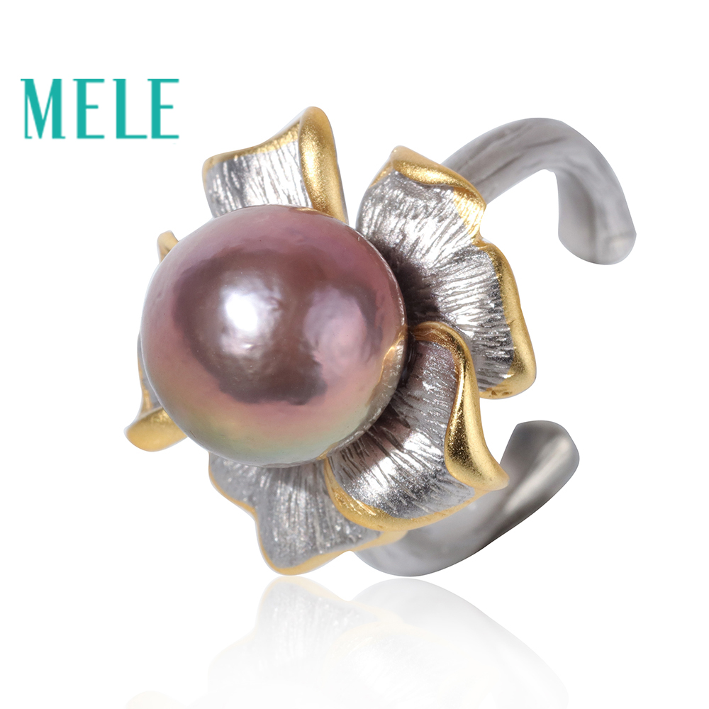 Natural freshwater pearl open rings for women,11mm round shape lavender color with 925 sterling silver,fashion flower jewel 6pcs of stylish color glazed round rings for women