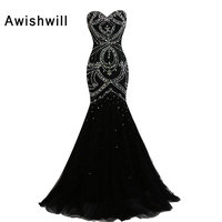Real Photo Sexy Black Long Evening Dress Mermaid Crystal Beadings Tulle Robe De Soiree 2017 Solde