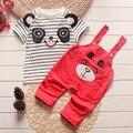 Ropa de verano para niños niños ropa de bebé set panda impreso niños Niñas ropa de algodón a rayas tapas de la camiseta y los pantalones trajes