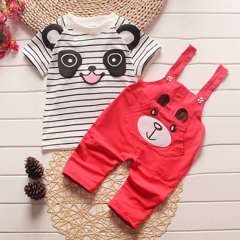 Summer kids clothes children baby clothing set cotton striped panda printed boys Girls clothes t-shirt tops & pants outfits hot sale 2016 kids boys girls summer tops baby t shirts fashion leaf print sleeveless kniting tee baby clothes children t shirt