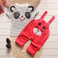 Summer kids clothes children baby clothing set cotton striped panda printed boys Girls clothes t-shirt tops & pants outfits