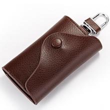 Creative Genuine Leather Men Key Wallets Housekeeper Key Case Credit Card Holder Men's  Organizer Male Keysmart Case Key Buckle
