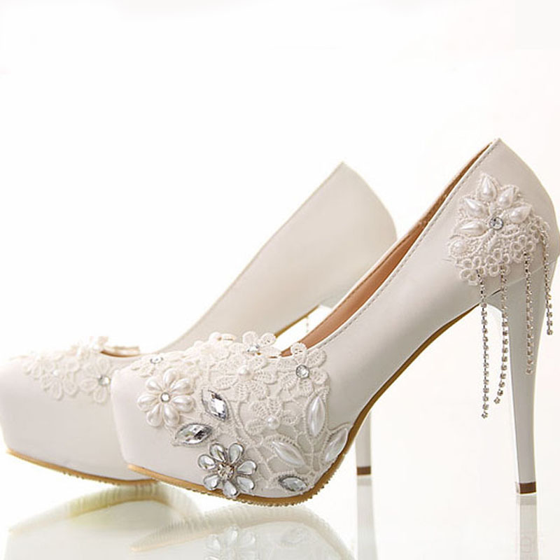 aliexpresscom buy free shipping newest white flower rhinestone wedding dress shoes bridal shoes super high heel lady fashion wedding outfit from reliable